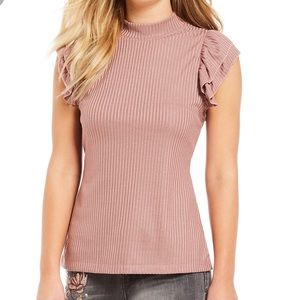 Jessica Simpson Evaline Ruffle Sleeve Ribbed Top